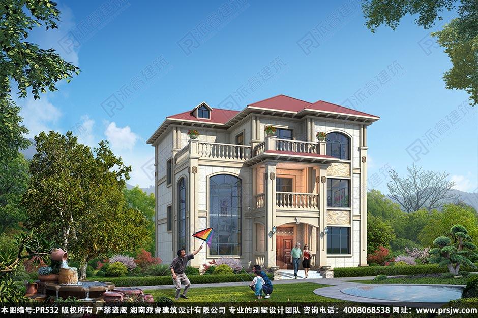 PR532-农村三层小别墅设计图纸_占地130平_农村欧式别墅效果图大全