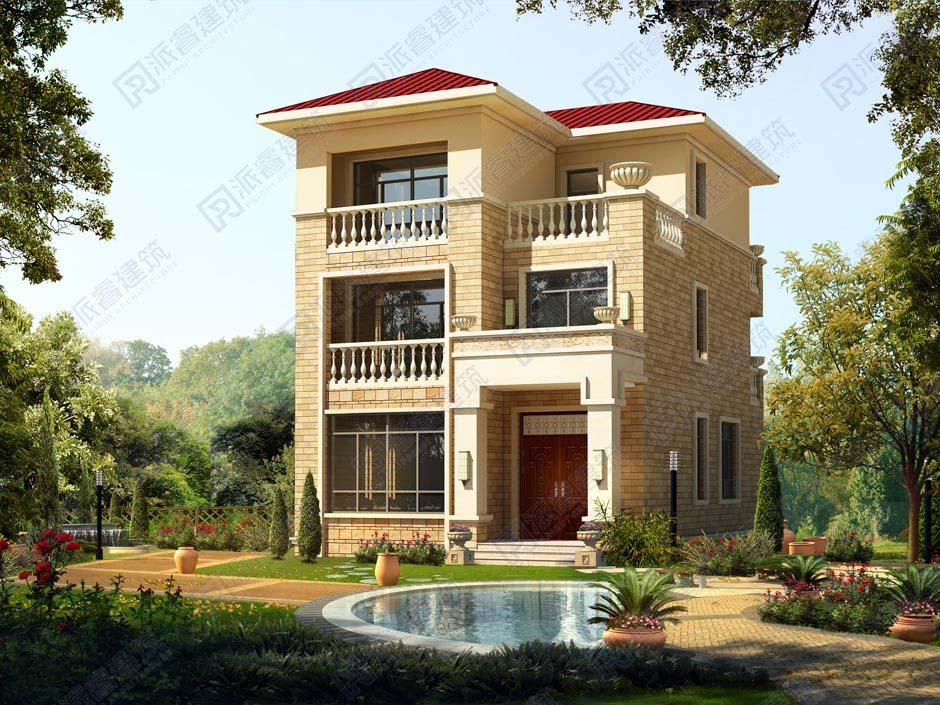 农村自建房三跑楼梯效果图,开间窄进深长8米x12米房屋设计图,南北带阳台-PR167