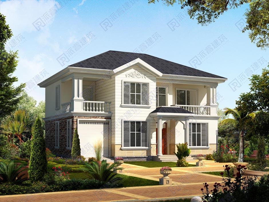 农村二层小别墅带车库房屋设计图,160平自建房子户型图颜值出众-PR201