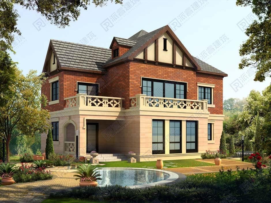 PR345 乡村二层别墅设计图160平米西班牙风格别墅带花园-派睿建筑