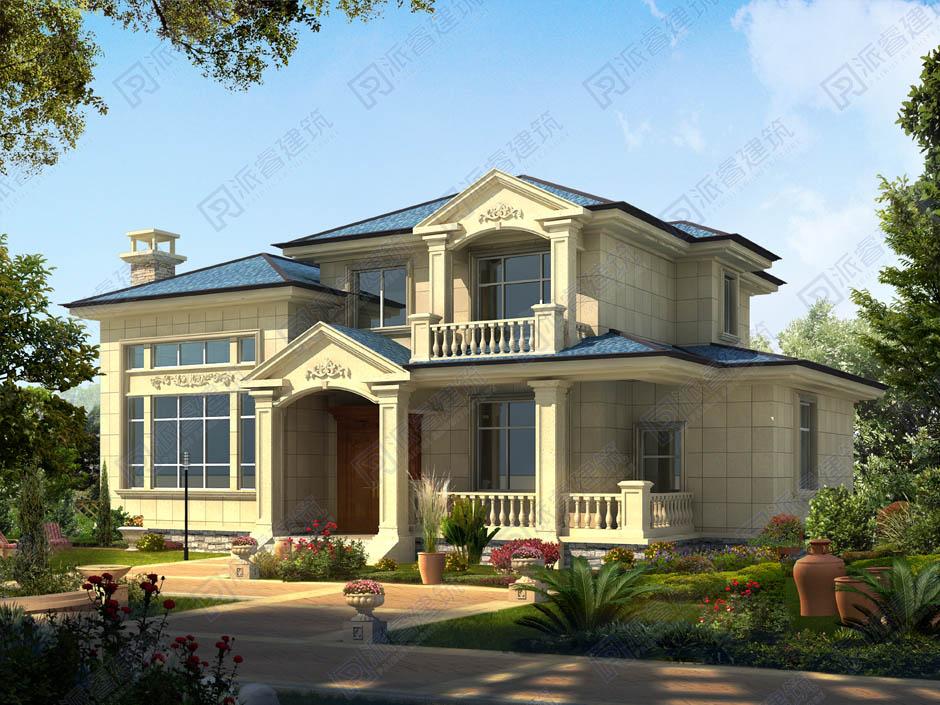 PR347 160平米新农村2层高端别墅带车库庭院设计效果图-派睿建筑