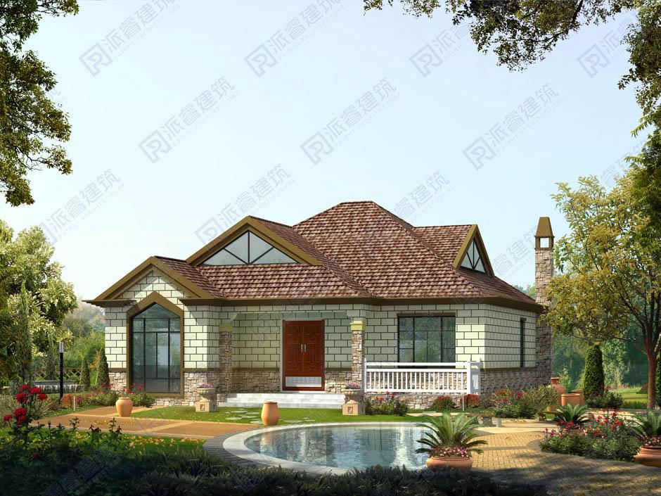 PR252-造型新颖的一层带阁楼乡村别墅设计图纸_设计前卫的农村房子