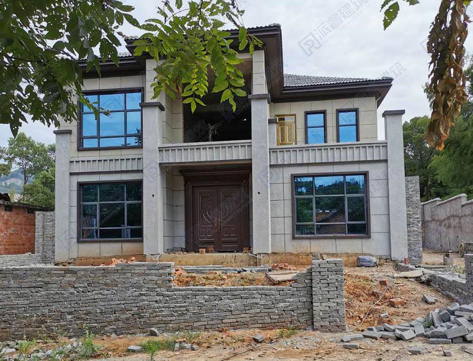 湖南湘潭-二层农村新中式别墅设计效果图纸-派睿建筑设计-L0138