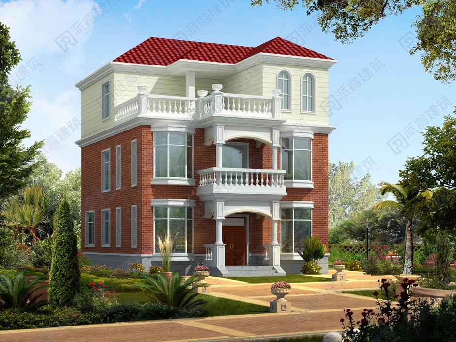 农村住宅三层房屋设计图10米x11米带露台,复古风反而更耐看-PR243