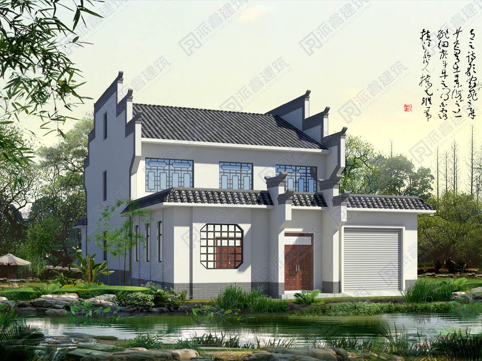 农村自建徽派中式带前后院子和车库的房子设计图,马头墙青砖小院,最实用农村二层别墅-PR336