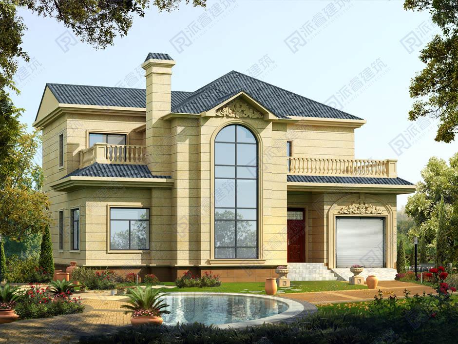 农村经济实用二层小别墅设计图,坐南朝北,适合北方自建房子设计图,带柴火灶房|车库和大露台-PR280