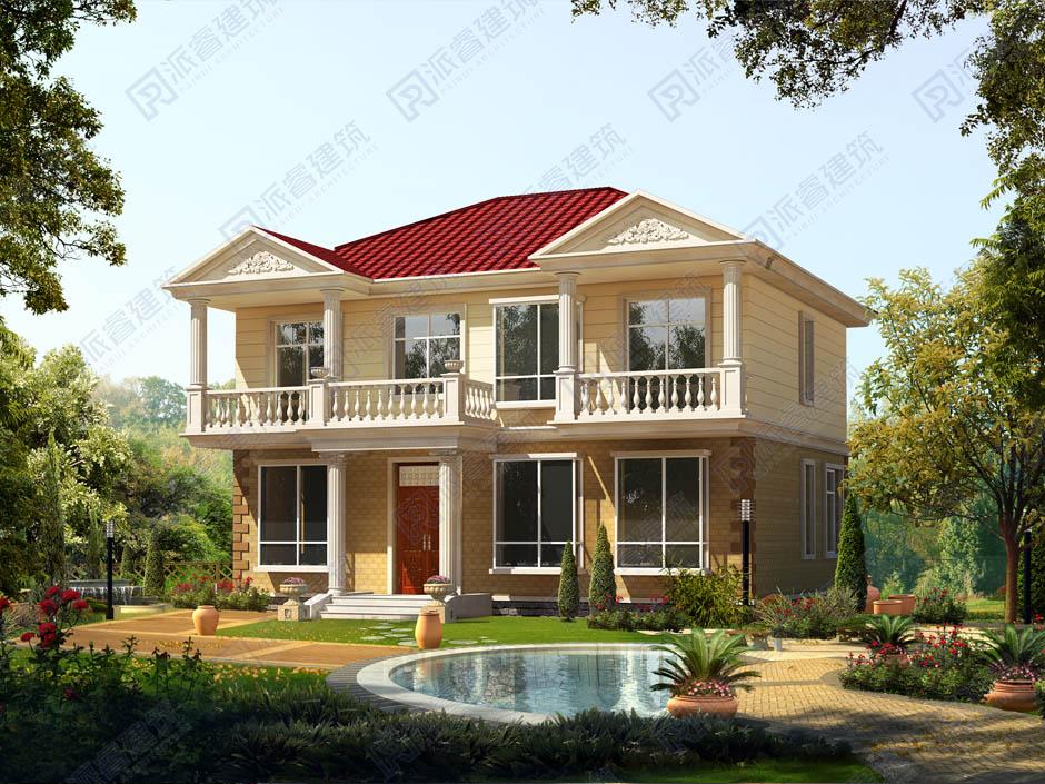 PR185-漂亮的二层乡村别墅设计|米黄色外观,田园清新,让村里人都羡慕-派睿建筑官网