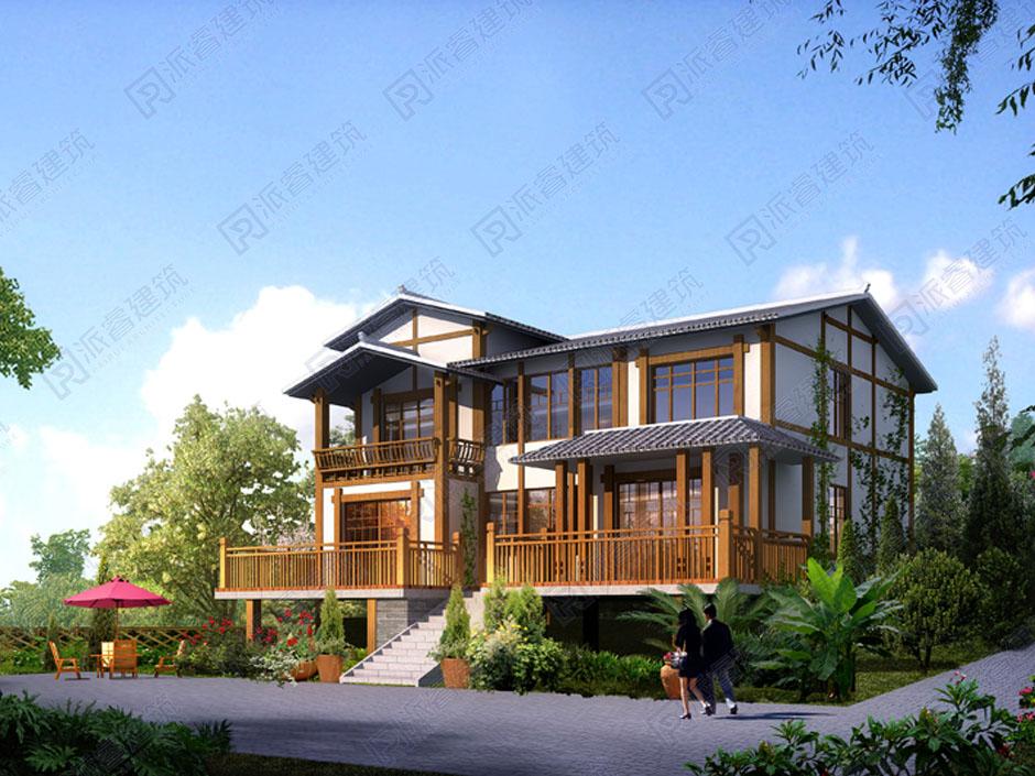 PR134 新农村东南亚风格二层别墅设计效果图及施工图_农村房屋图纸