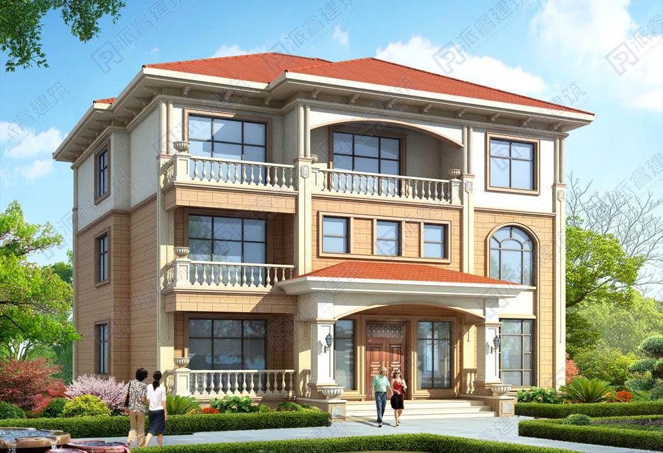 PR502-农村自建三层别墅设计图纸_色彩鲜亮_农村复式房子设计图