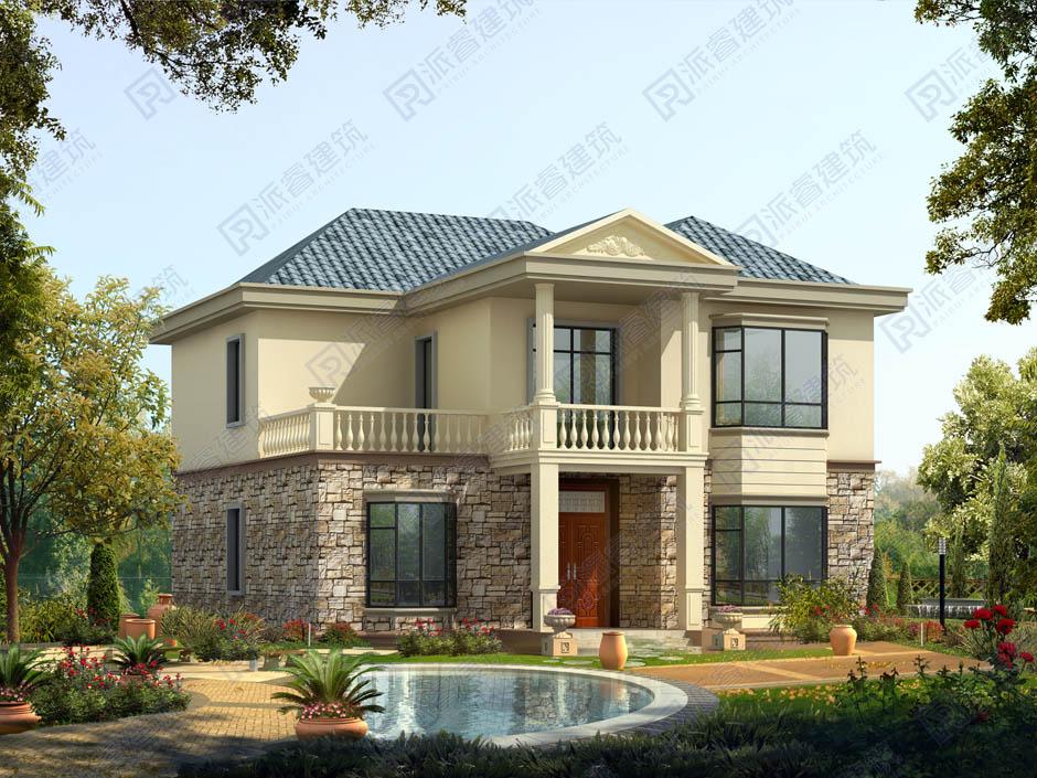 经济实用的新农村自建房设计图二层,复式客厅带旋转楼梯和飘窗的小别墅样式设计图-PR270