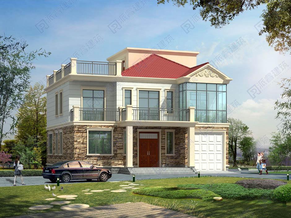 农村自建房二层半设计图及效果图带车库和屋顶露台花园,150平盖房子设计图纸-PR248