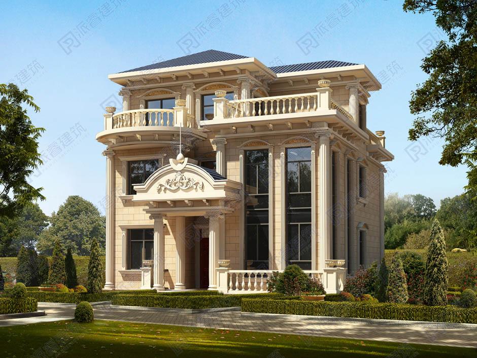 三層農村自建房設計圖,復式別墅主體28萬,豪華歐式外觀-PR155