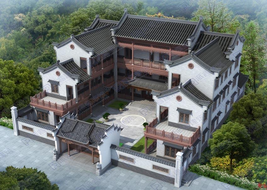PR513 -新中式四合院别墅设计图纸_农村自建中式庭院别墅图_气质非凡