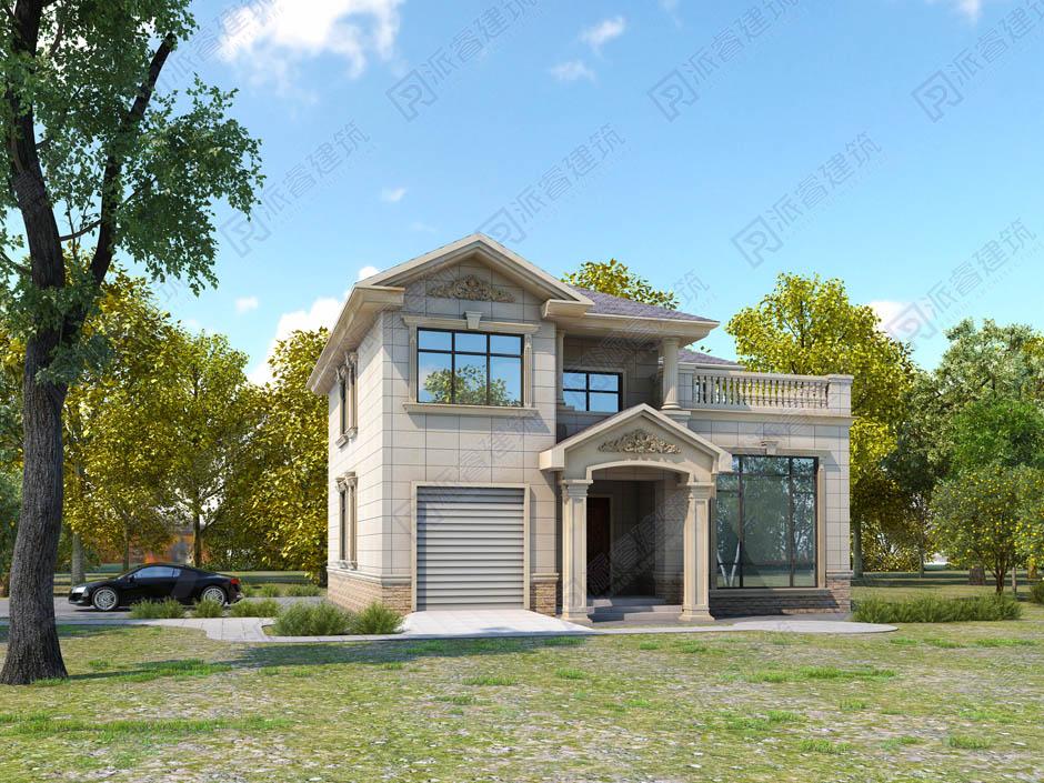 PR002 二层带车库农村别墅设计图纸农村小洋楼二层半别墅经济型欧式新农村自建房全套设计图纸