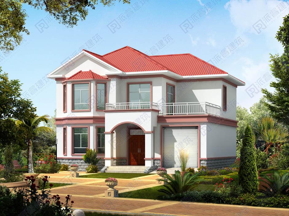 130平方米農村自建房屋設計圖紙二層帶堂屋露臺和車庫,美麗鄉村別墅外觀效果圖-PR225