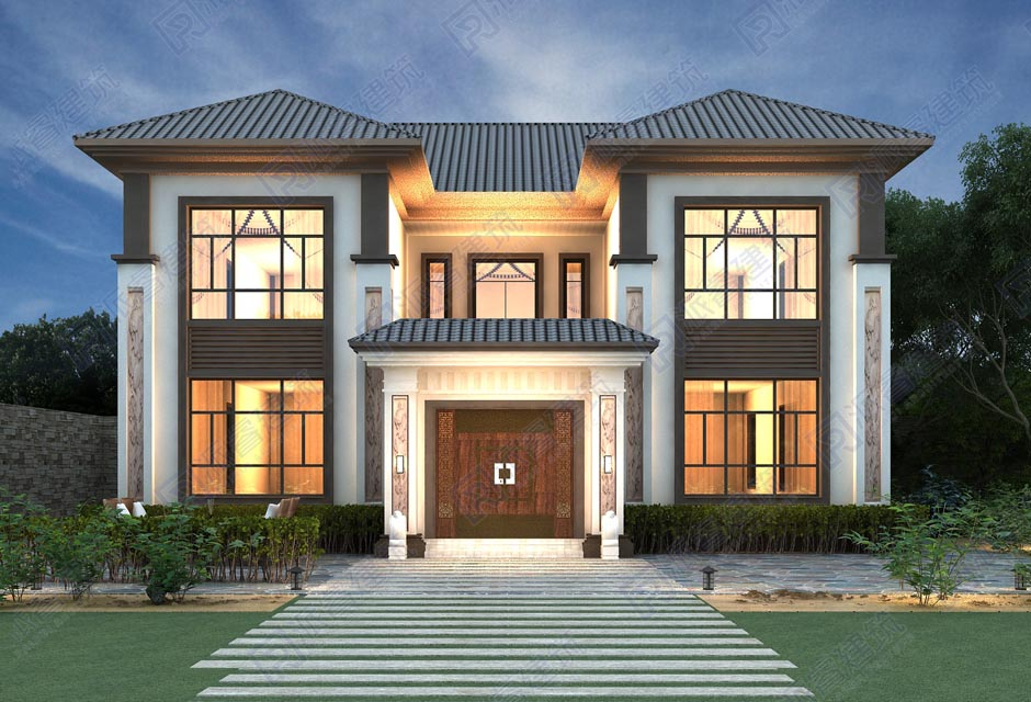 最新款138平农村自建新中式别墅设计图纸二层|带天井内院,四水归堂-PR568