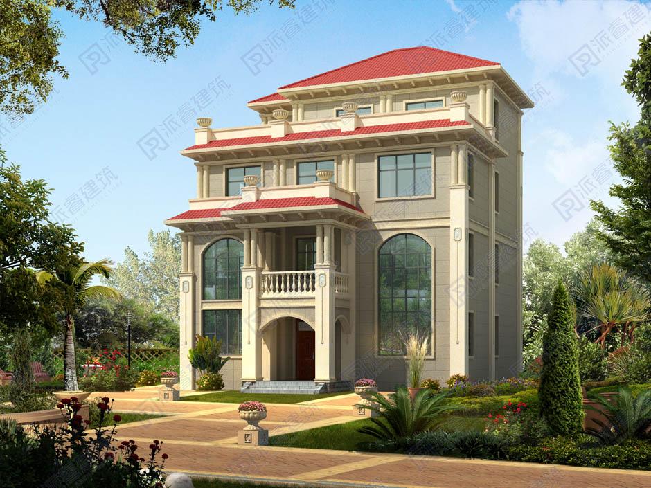 PR249 简欧四层复式客厅带大露台豪华别墅设计全套施工图纸,别墅图片,派睿建筑