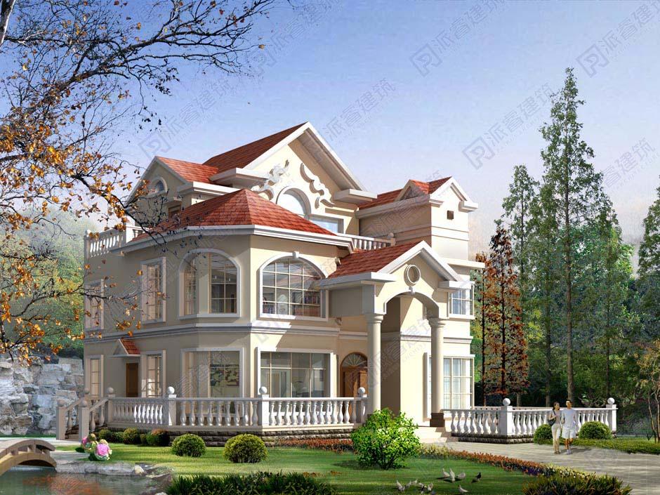 PR131-高端大气的美式田园独栋别墅设计图_ 三层乡村别墅外观效果图