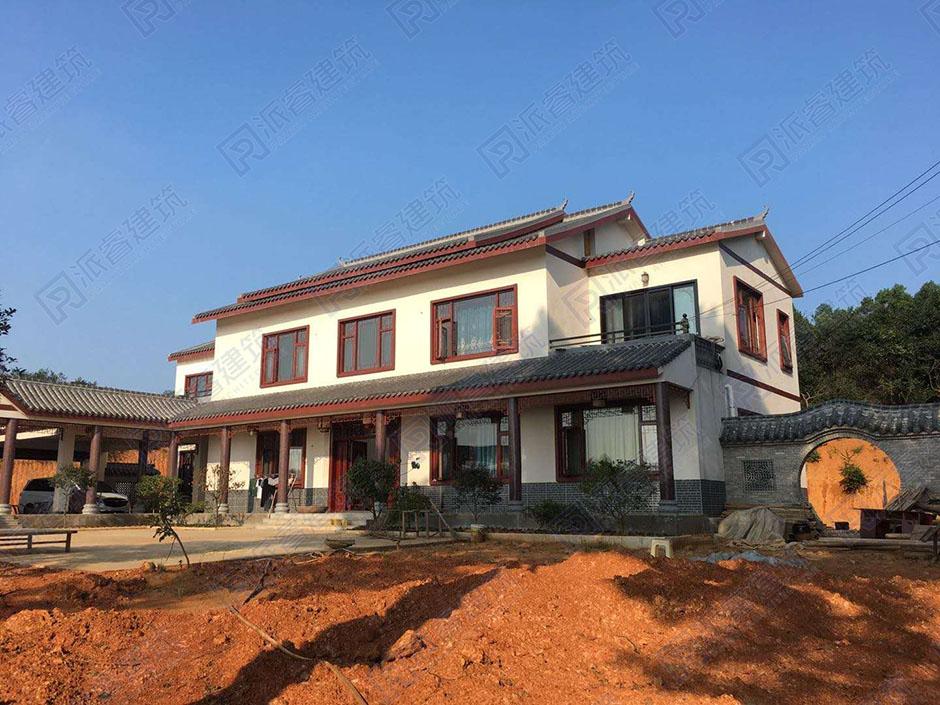 湖南常德-二层农村中式别墅设计图_中式三合院设计图片-X0102