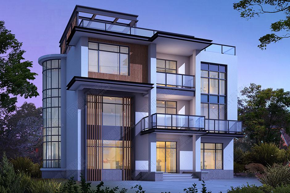 農村現代風格平頂別墅設計圖及效果圖,155平復式帶屋頂花園,追求時尚自由-PR499