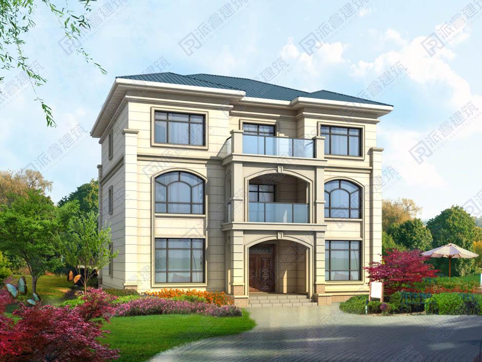 农村自建房设计图三层150平方欧式小别墅,美观大方,适合三代人居住-PR488