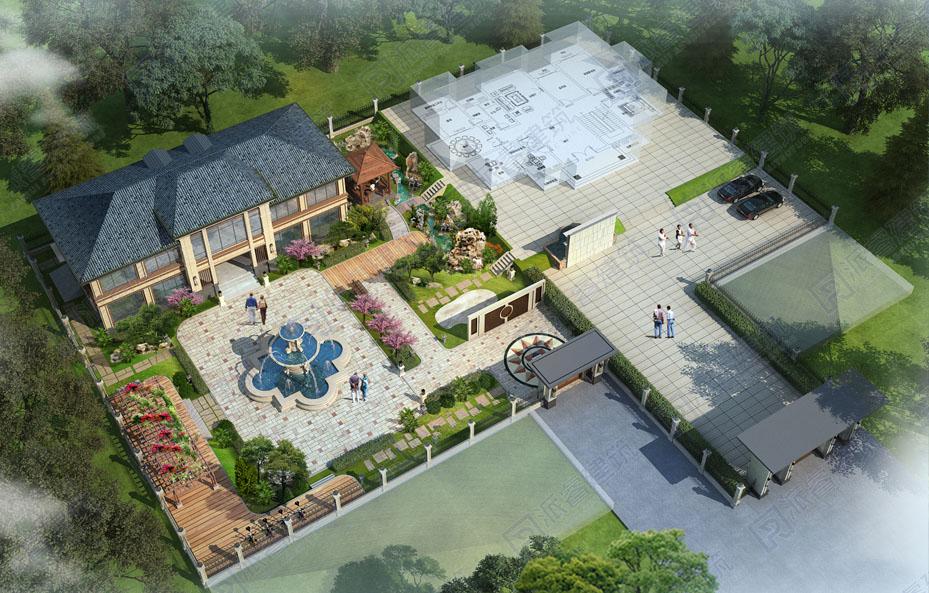 农村自建别墅庭院设计图,新中式禅意空间-PR706 派睿建筑