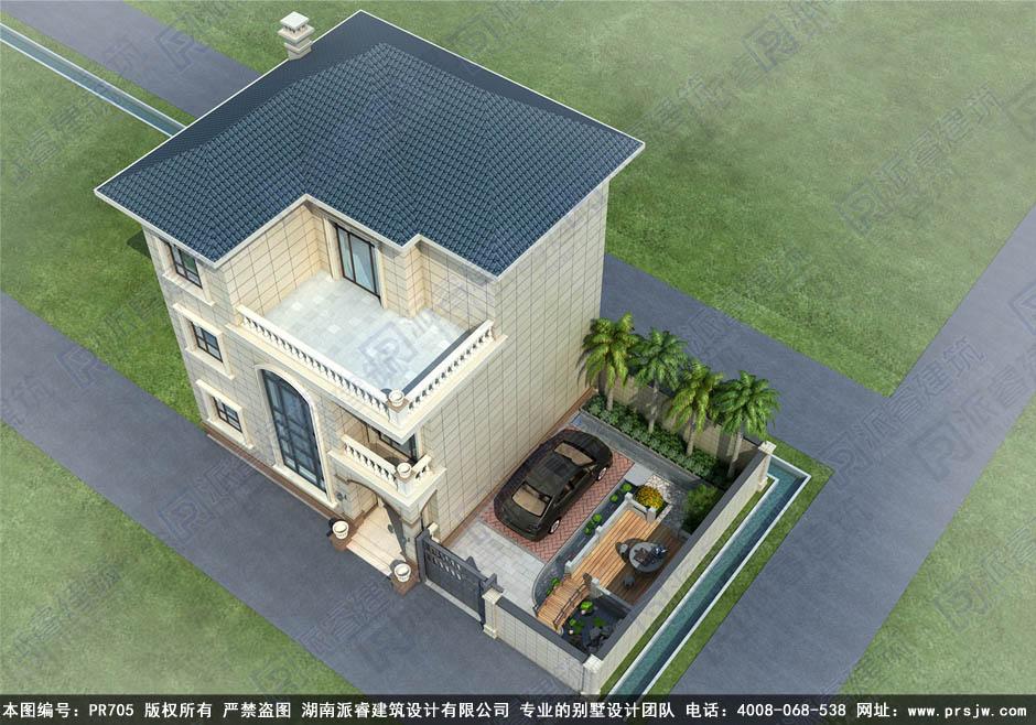 农村私家别墅现代新中式小庭院设计图带停车位-派睿建筑PR705