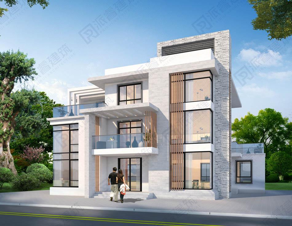 PR561-新款农村自建三层现代风格别墅设计图纸|复式下沉客厅和露台,受年轻人青睐