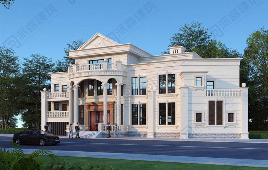 新款三層農村自建豪華別墅設計圖紙,復式帶電梯和旋轉樓梯,白色外觀浪漫優雅-PR553