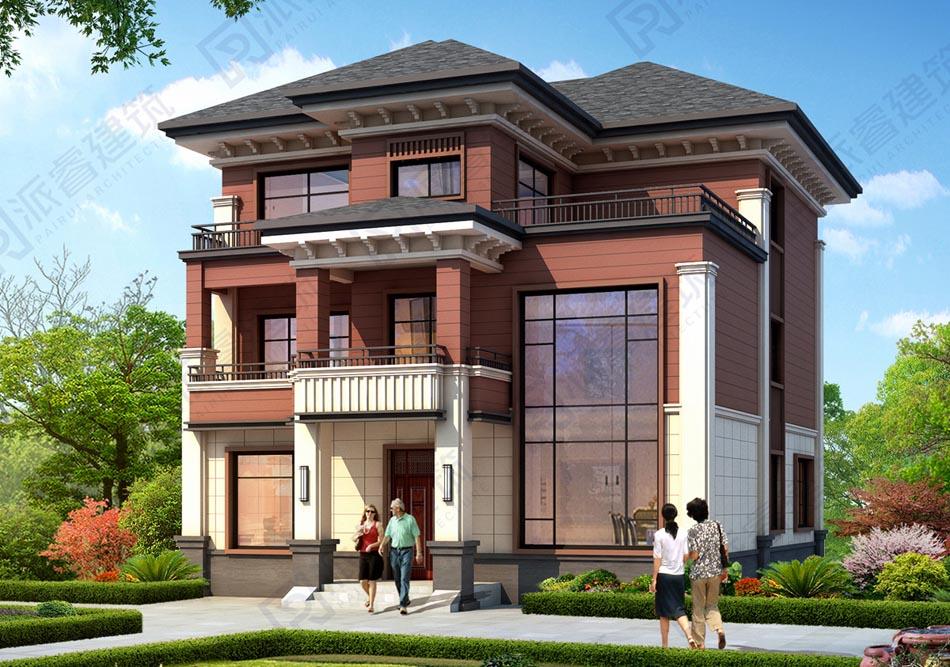 150平方农村新中式三层独栋别墅设计图纸,三开间复式住宅,古朴典雅-派睿建筑 PR548