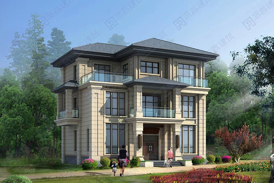 農村新中式自建房設計效果圖三層帶露臺,外觀素雅大方有氣質-PR517