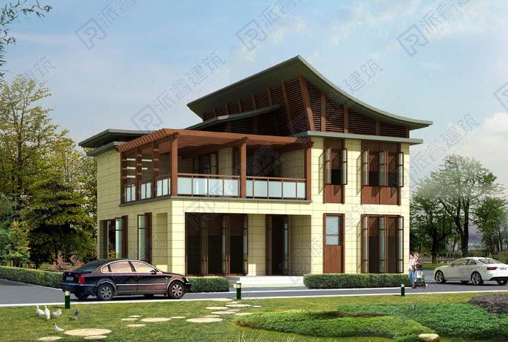 東南亞風格自建別墅外觀效果圖,造型新穎帶超大露臺,展現原木自然的熱帶風情-PR004