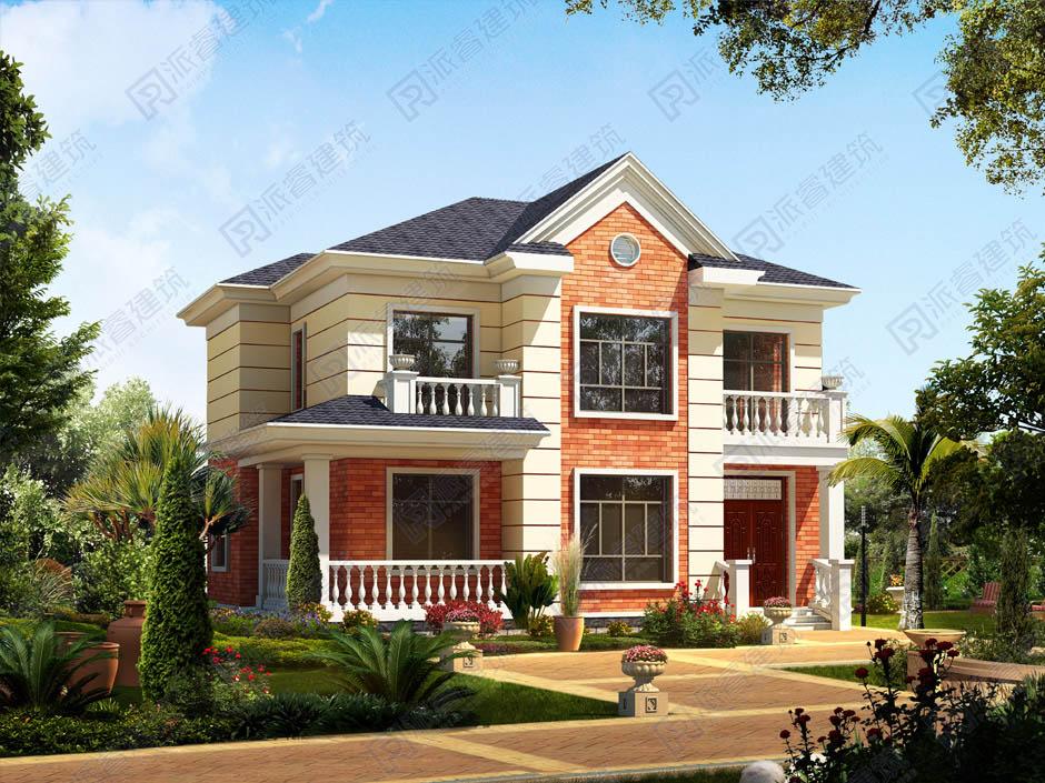 农村自建二层小洋楼设计图,美式别墅外观效果图,时尚美观-PR158
