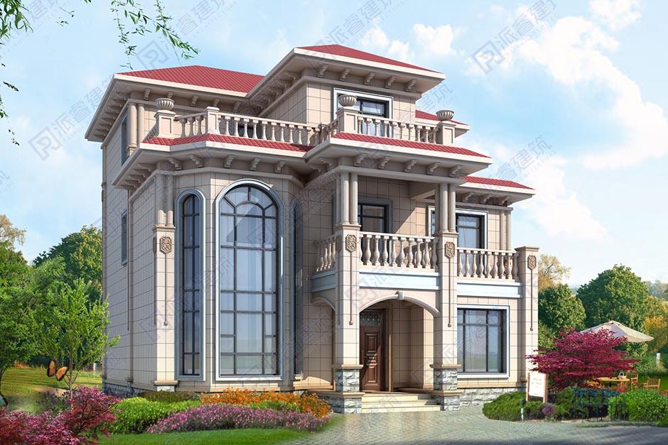 新農村自建復式別墅圖紙設計圖三層帶大露臺和陽光房,占地140平簡歐造型-PR496