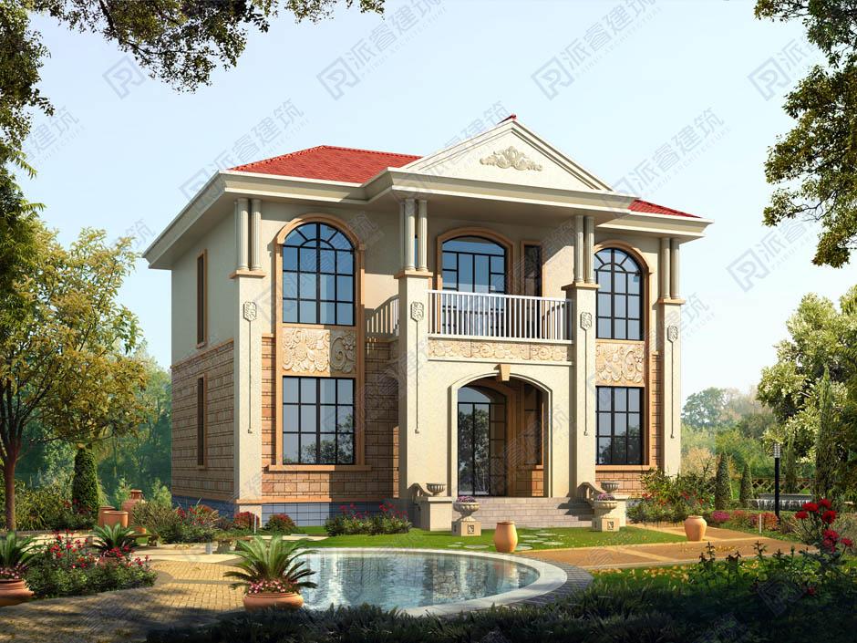 PR236-农村自建房设计图二层楼_占地140平欧式别墅