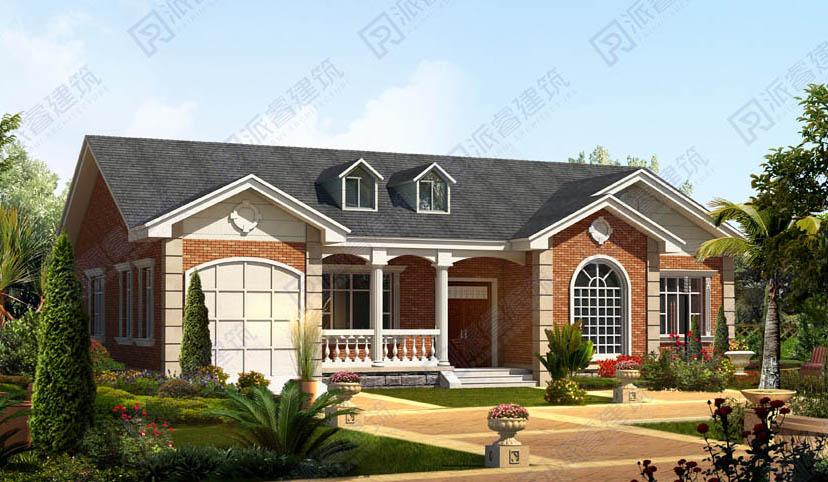 农村一层自建房设计图大全,美式风格带老虎窗和车库,造价10万多-PR194