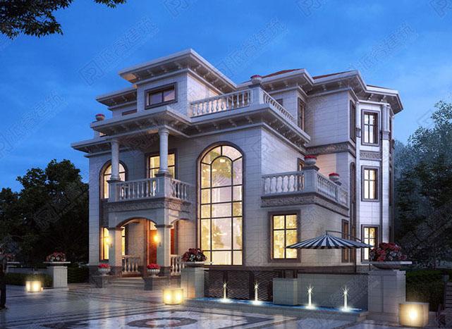 185平农村自建豪华复式别墅图纸设计图三层,下沉客厅,多露台,美观高档-PR152
