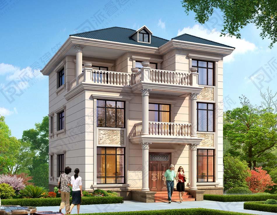 140平農村三層自建歐式別墅外觀效果圖帶羅馬柱,高檔鄉墅建房最新款-PR549