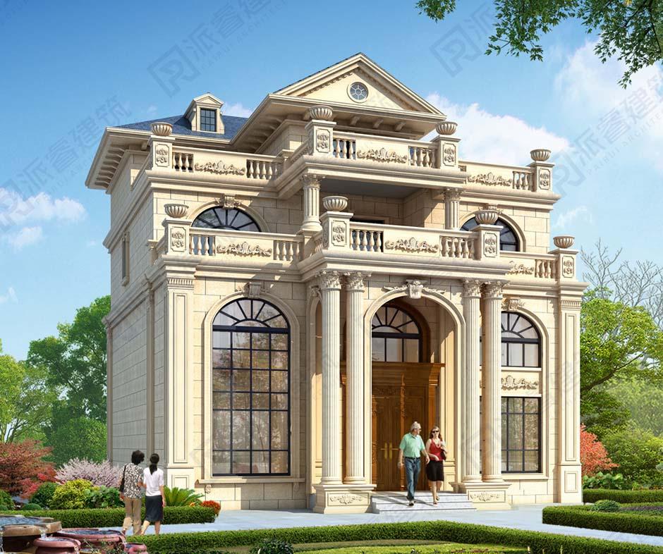 新款农村自建房四层豪华欧式别墅设计图纸及效果图大全,复式带堂屋,高档大气-PR557