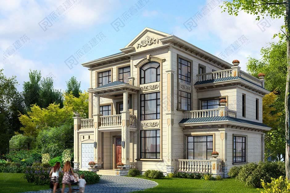 农村自建三层豪华欧式别墅设计图带车库和露台,大气的会客空间,处处观美景-PR522