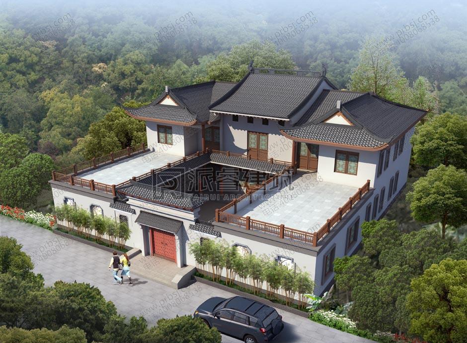 农村中式二层四合院别墅设计效果图及平面图,带天井和庭院,传承经典-PR443