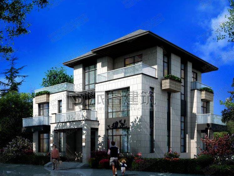 PR445 美丽乡村新中式外观别墅全套设计图纸_豪华别墅,新农村别墅,农村自建房设计,派睿建筑