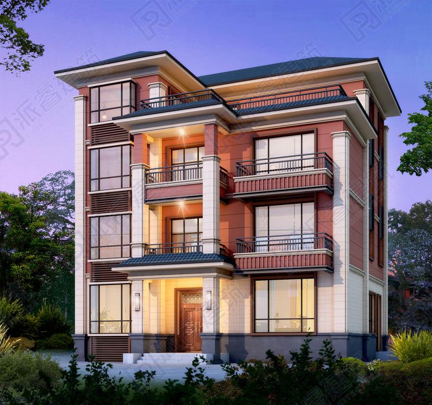 PR543-四层房子设计图|带地下室6个车位的四层现代农村自建别墅设计图纸