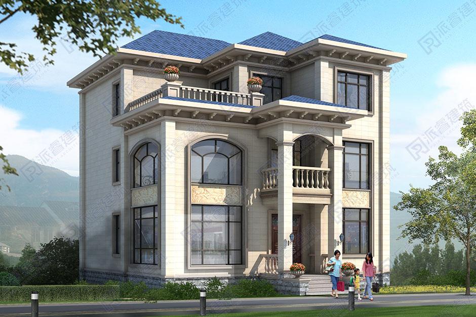 坐西朝東自建房設計圖三層11米x13米,高檔歐式別墅外觀,復式挑空客廳帶露臺-PR535
