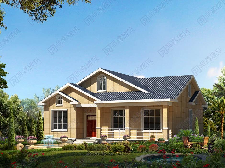 PR183 一层农村别墅设计图纸15万造价带庭院-派睿建筑