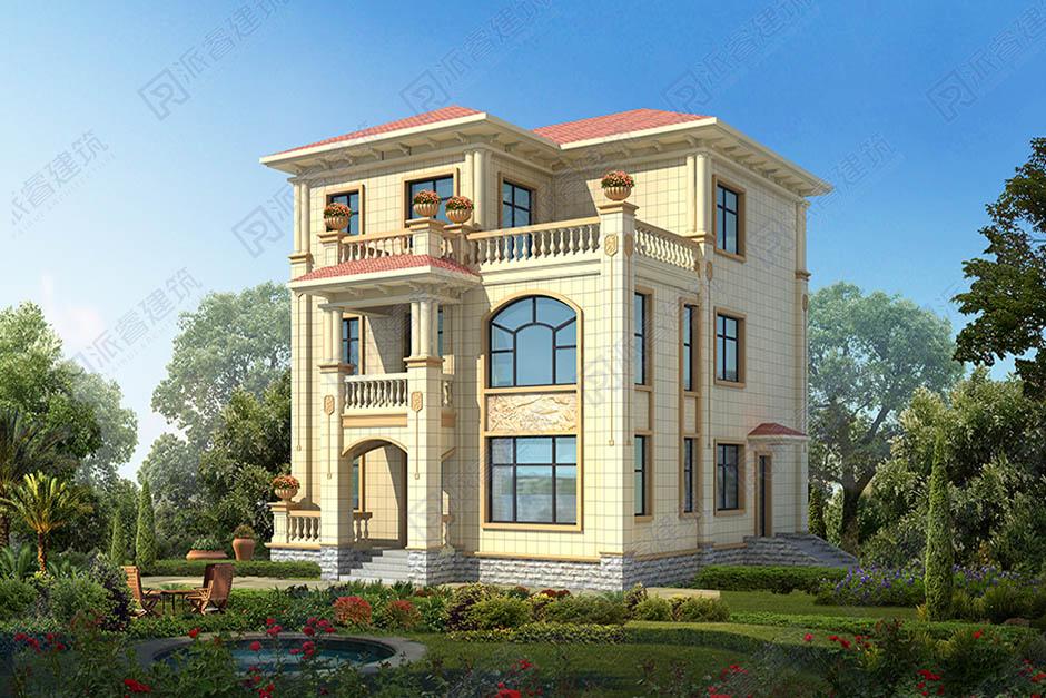 农村三层小别墅独栋建筑图纸,坐西朝东自建房子设计图带露台-PR508