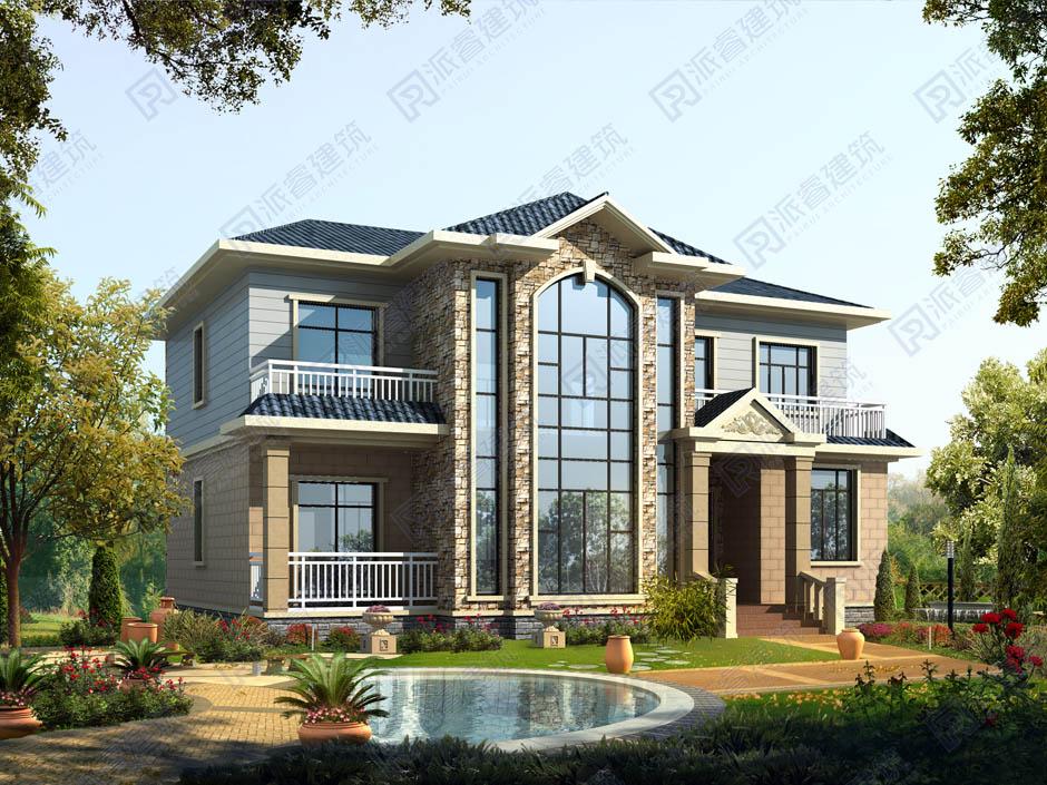 PR216 农村二层带复式客厅小别墅,实用美观别墅设计图片,新农村房屋设计,农村自建房别墅图片,派睿建筑
