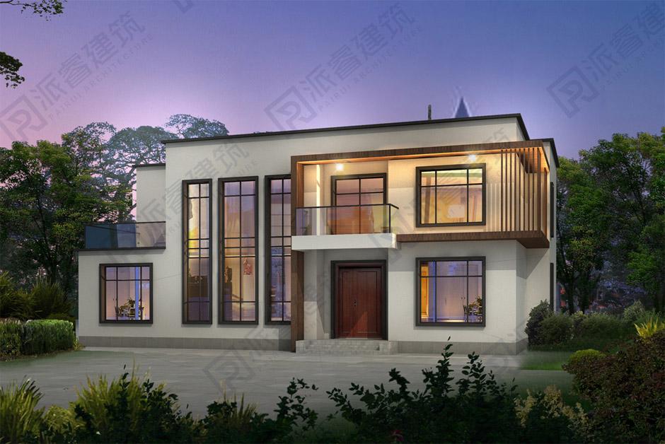 内蒙古呼和浩特-北方农村自建房设计二层现代简约别墅效果图