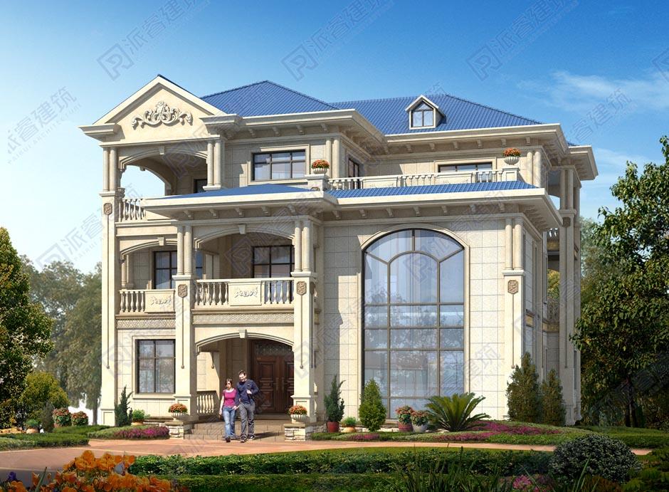 农村三层自建房设计图,复式带旋转楼梯的欧式别墅外观效果图-PR506