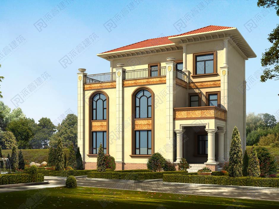 造價三十萬左右農村三層別墅設計圖,在青山綠水間,盡顯簡歐優雅的格調-PR352